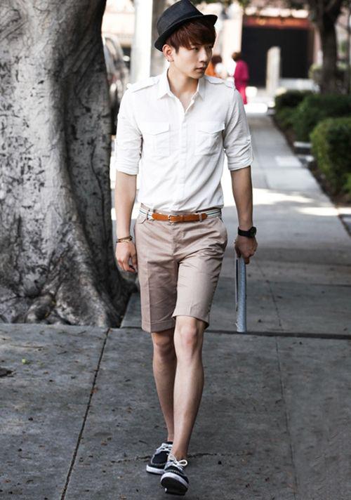 cách phối áo sơ mi với quần short nam