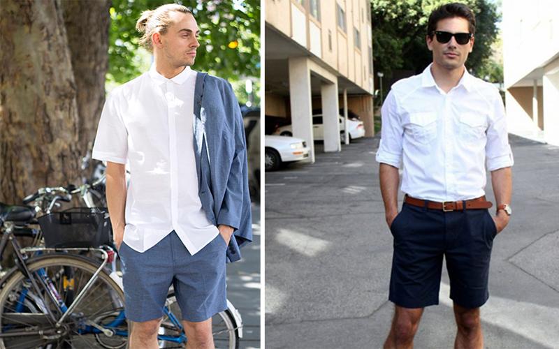 phối áo sơ mi trắng với quần jean nam