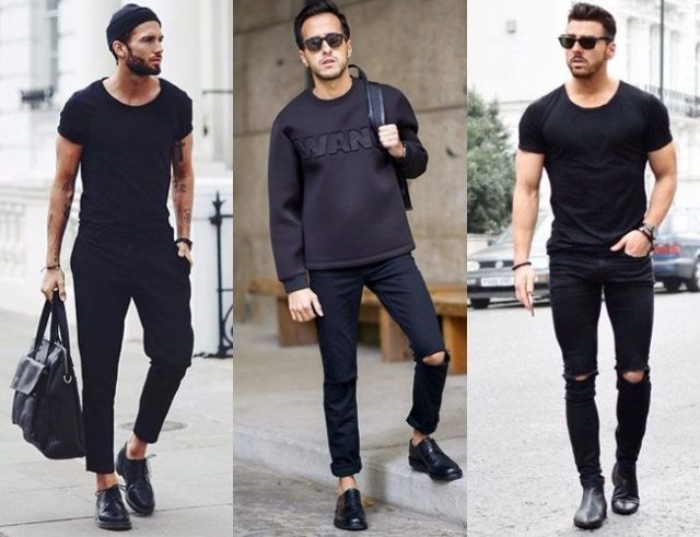 phối đồ với áo thun đen nam