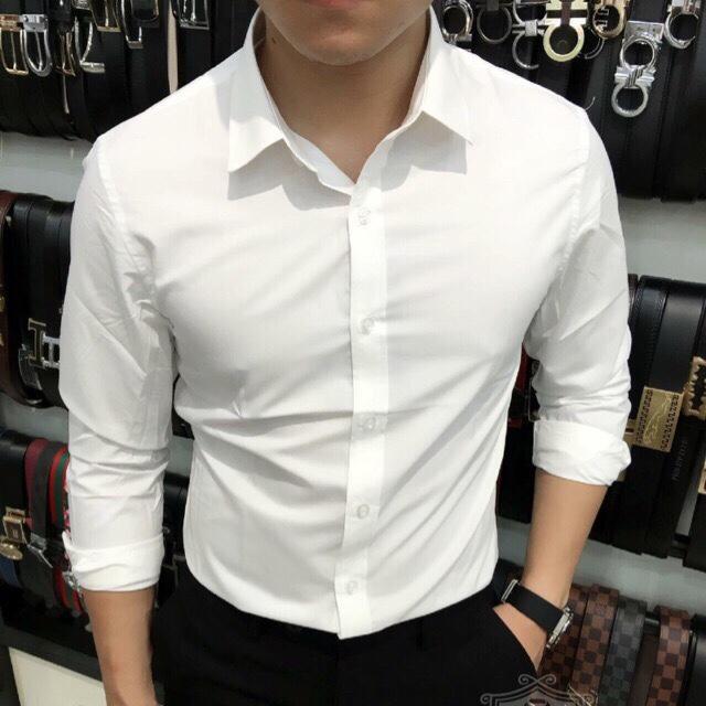 áo sơ mi nam trắng phối màu