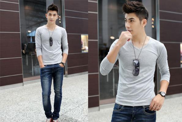 phối áo thun với quần jean nam