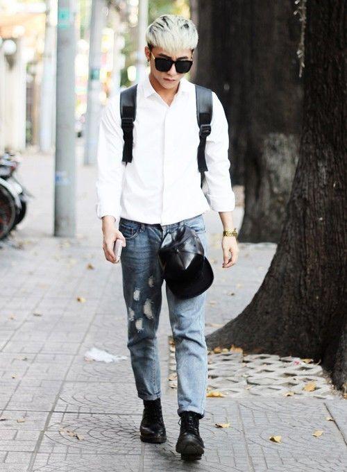 mix áo sơ mi với quần jean nam